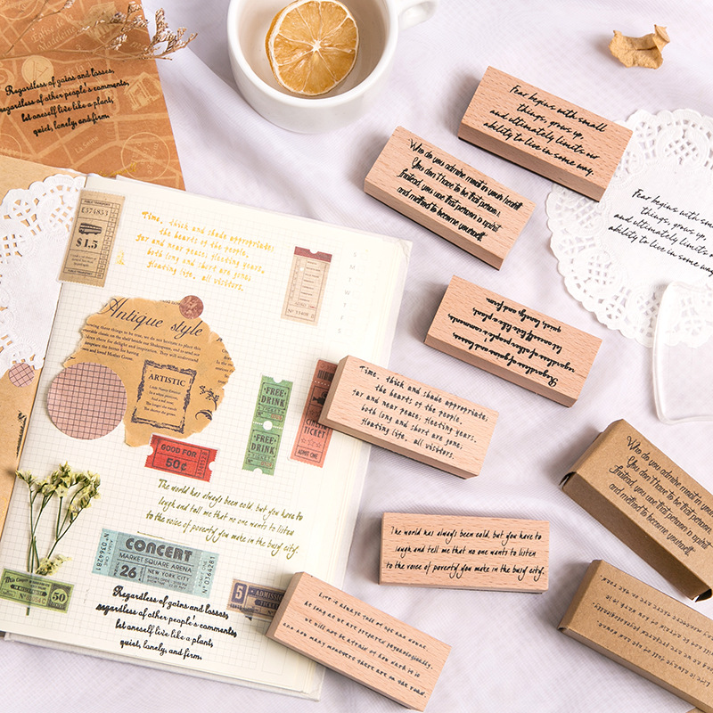 Vintage English Phrase Stamp DIY Wooden Rubber Stamps For Scrapbooking Stationery Scrapbooking Standard Stamp