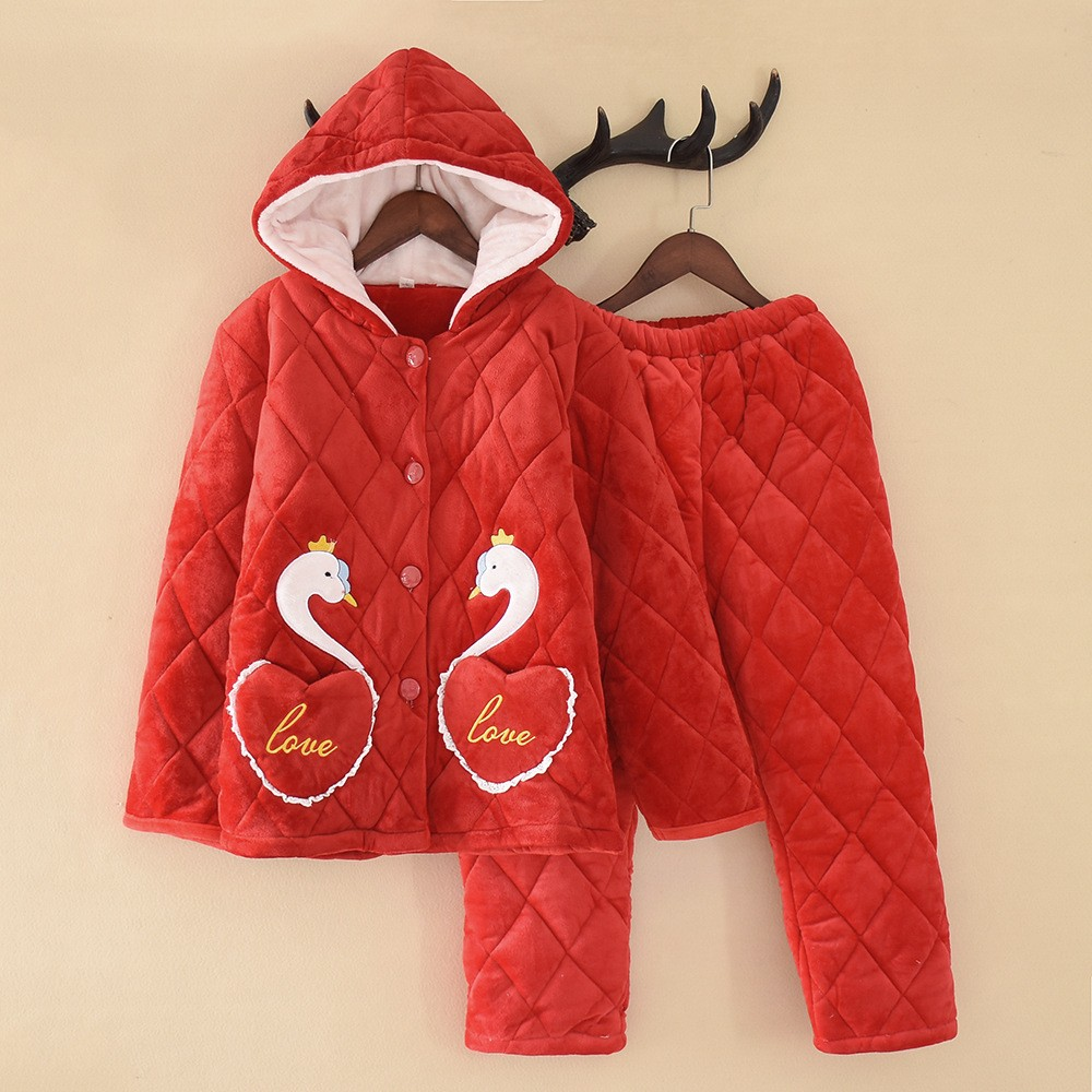 Coral Fleece Sleepwear Nightwear Hooded Homewear Winter New Sleep Set Intimate Lingerie Child Flannel Sleep Set Home Clothing