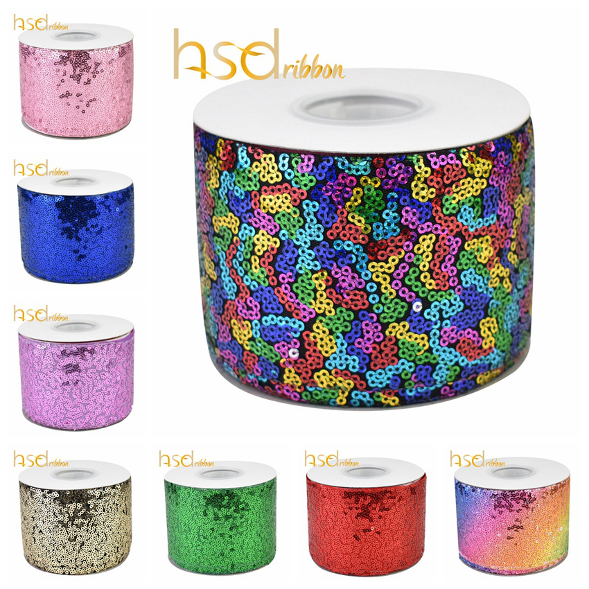 HSDRibbon 3 inch 75MM color Red Navy Pink Purple Sequin Fabric Scribble Sequin Ribbon 25Yards/RollRibbons