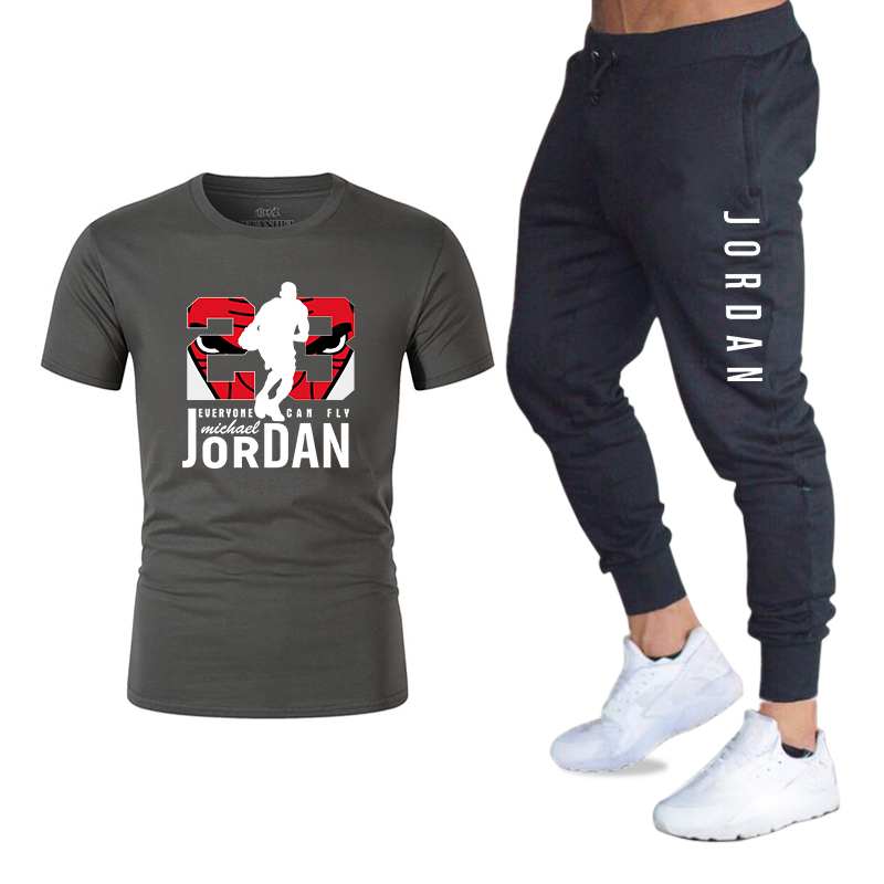 2020 Men's Sets T Shirts + Pants Two Pieces Sets Casual Tracksuit Basketball New Fashion Print Suits Sportwear Fitness Shirts