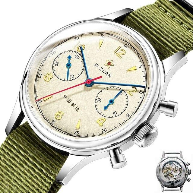 1963จีนAir ForceนักบินChronographนาฬิกาOriginal Seagull St1901 Sapphireนาฬิกาผู้ชายMechanicalนาฬิกาข้อมือนาฬิกา