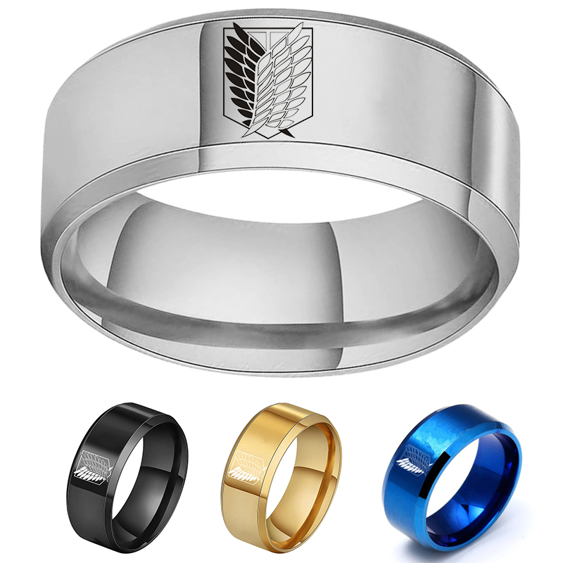 Anime Attack on Titan Black sliver Stainless Steel Ring Wings Of Liberty Flag Finger Rings For Men Women Jewelry Fans Gifts
