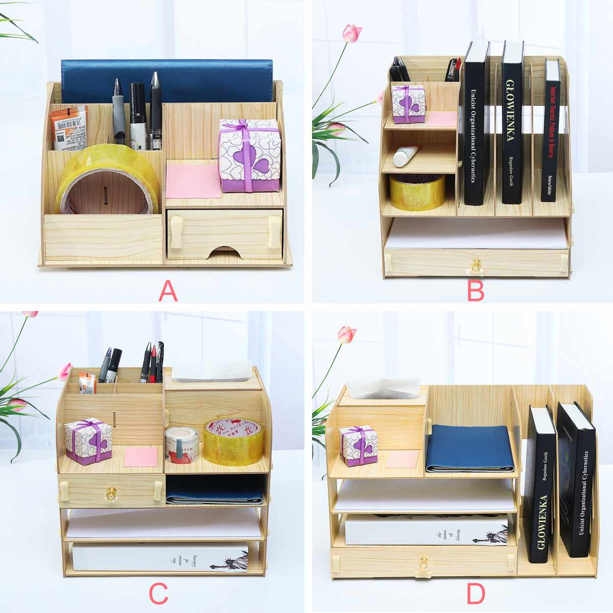 Desktop File Organizer Wood Document Holder Letter Tray Multi-Layers For Office School Home Use Office Supplies