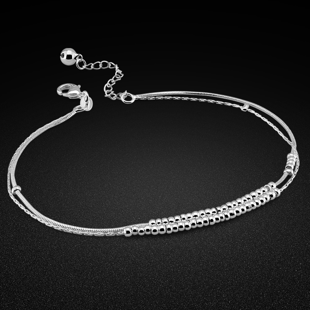 Minimalist pure 925 silver anklet women's original silver round bead chain summer ankle jewelry birthday gift free gift box
