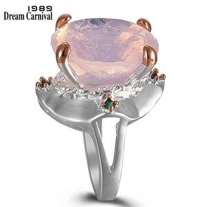 Image 1 - DreamCarnival1989 Pinky Solitaire Ringen Voor Vrouwen Ballet Look Trouwring Twee Tonen Kleur Radiant Cut Cz Vrouwelijke Sieraden WA11713