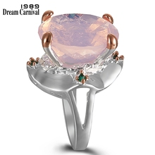 DreamCarnival1989 Pinky Solitaire Rings for Women Ballet Look Wedding Ring Silver Rose Gold Color Radiant Cut Zirconia WA11713