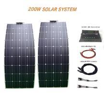 RG 200w 18v Flexible Solar Panel Kit System 2x 100w Module 20A Controller RV Car
