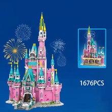 MOC 1676PCS Princess Castle Dreamland Architecture City Building Blocks Bricks Toy Ideas Creator Expert With Figures Street View