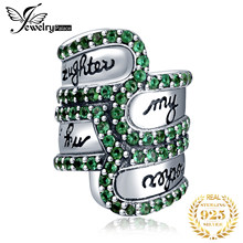 JewelryPalace 925 Sterling Silver Green Cubic Zirconia Engraved My Mother Daughter Friends Bead Charm Fit Bracelet(China)