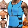 Неопреновый тренировочный костюм для сауны, мужской корсет для талии, утягивающий жилет на молнии, шейпер для тела с регулируемой майкой, мо...
