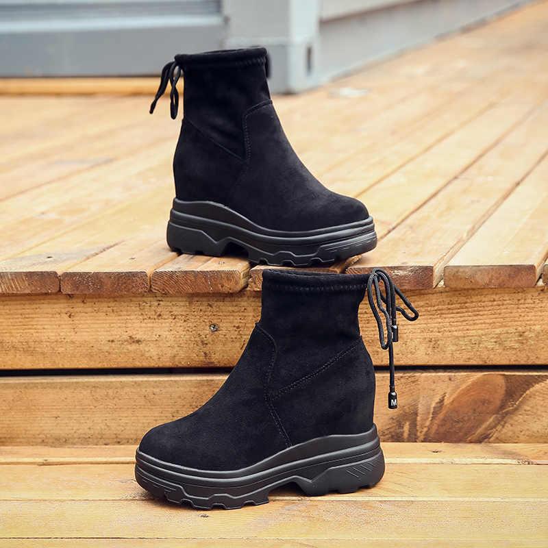 Moipheng Mới Giày Nữ 2019 Sexy Đỏ Đáy Giày Tăng Chiều Cao Đàn Buộc Dây Cổ Chân Giày Cho Nữ Botas zapatos De Mujer