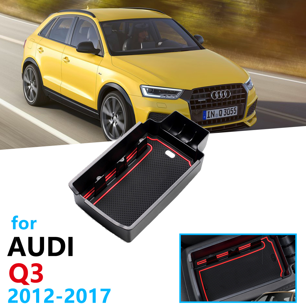 Car Organizer Accessories For Audi Q3 8U 2012 2013 2014 2015 2016 2017 Armrest Box Storage Stowing Tidying Coin Box Cable