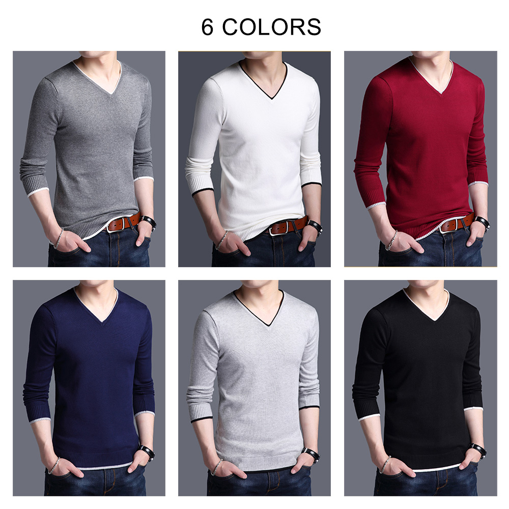 COODRONY Brand Spring Autumn New Arrival Soft Cotton Sweater Casual V-Neck Pull Homme Knitwear Pullover Men Clothes Jersey C1001 4
