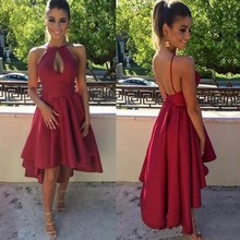 Modest Dark Red Cocktail Dresses Sexy Sleeveless Keyhole Short Backless High Low Satin Prom Gowns Homecoming Dress halter backless applique beaded homecoming dress illusion lace up sleeveless cocktail dress short blue a line graduation gown