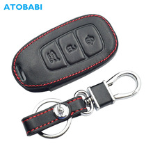Leather Car Key Case For Hyundai Santa Fe TM 2019 I30 2018 Solaris Azera Elantra Grandeur Accent Keychain Holder Protector Cover