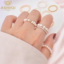 ASHIQI Mode 3 4mm Mini Kleine Natürliche Süßwasser Perle Paar Ringe für Frauen Echt 925 Sterling Silber Schmuck für Frauen Geschenk