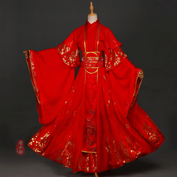 New Arrival Anime Tian Guan Ci Fu Xie Lian Cosplay Costume Red Wedding Dress Halloween Costumes For Women