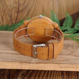 Image 5 - BOBO BIRD Wood Watch Men A22 Bamboo Male Simple Quartz Wristwatch 20mm Leather reloj para hombre