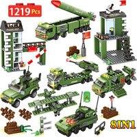 1219pcs City War Forces Truck Battle Bricks Commander WW2 Military Base Model 8 IN 1 Building Blocks Toy For Boys