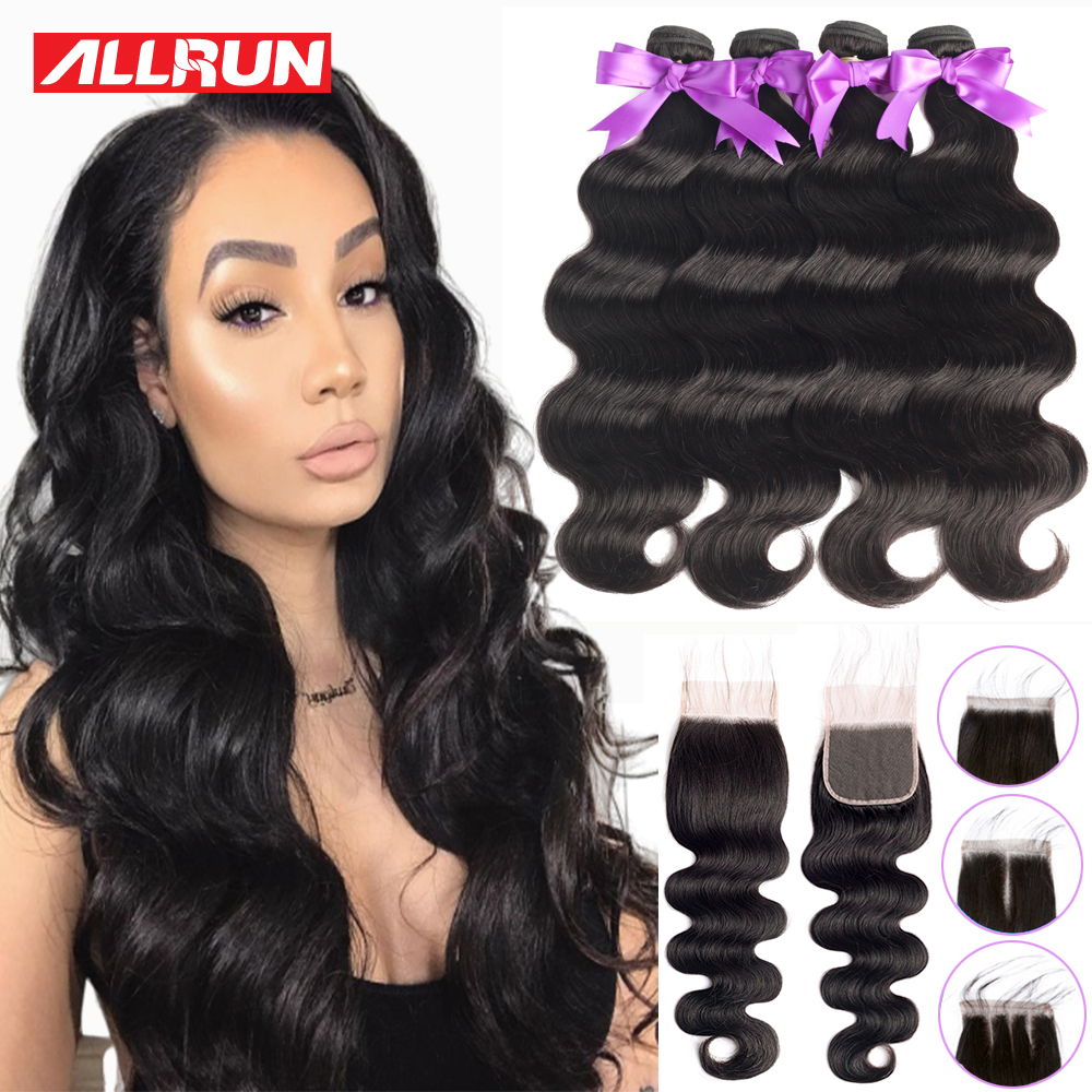 Allrun Human Hair Bundles With Closure Body Wave Non Remy Brazilian Hair Weave Bundles With Closure For Black Women Extensions