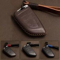 Genuine Leather Car Key Case Cover Bag Remote Key Protector For BMW X5 F15 X6 F16 G30 7 Series G11 X1 F48 F39