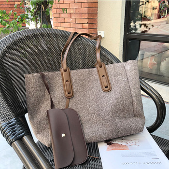 Woolen Large Capacity One-shoulder Handbag for Women 2020 New All-match Soft Leather Lightweight Tote Bag Fashionable Purses cc