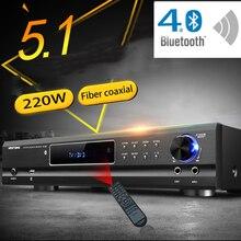 KYYSLB AV 985 650W 220V 5.1 ערוץ 4.0 Bluetooth מגבר קולנוע ביתי אודיו מתח גבוה חום Ktv מגבר קריוקי עם USB