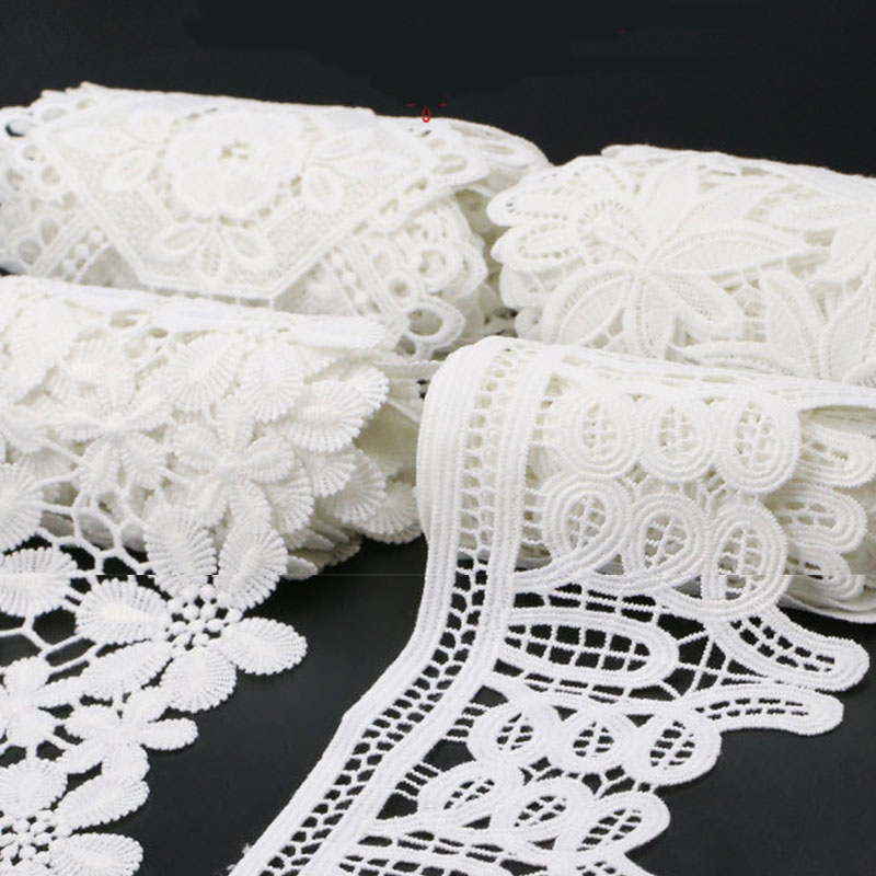 100 Yards White Embroid Lace Sewing Ribbon Guipure Ribbon Guipure Lace Trim Or Fabric Warp Knitting DIY Garment Accessories