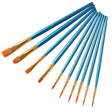 BGLN 10Pcs/Set Watercolor Gouache Paint Brushes Different Shape Round Pointed Tip Nylon Hair Painting Brush Set Art Supplies