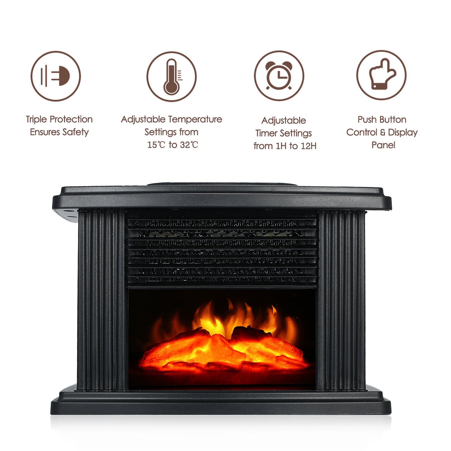1000W Desktop Electric Fireplace Heater With Log Flame Effect Warm Air Heater Warm Small Warm Air Blower Fan Table Heater 220V