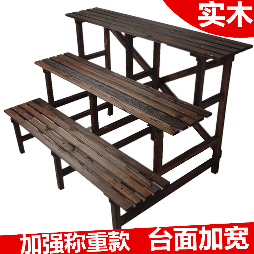 Solid Wood Flower Rack Balcony Shelf Three Layers Ladder Flower Rack Multi-storey Flower Airs Meaty Green Luo Bonsai Frame