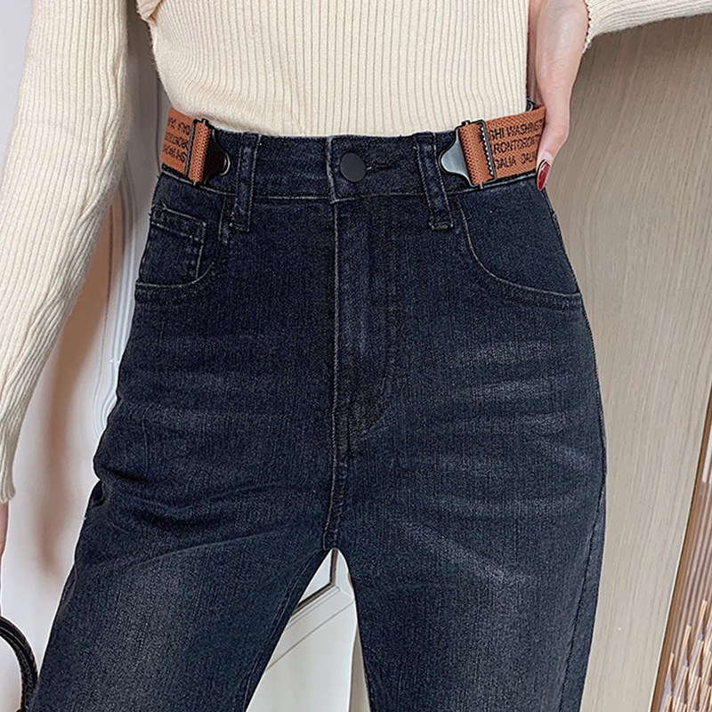 JUJULAND Woman Black Casual Loose Jeans High Waist Classic Straight Leg Jeans 3508