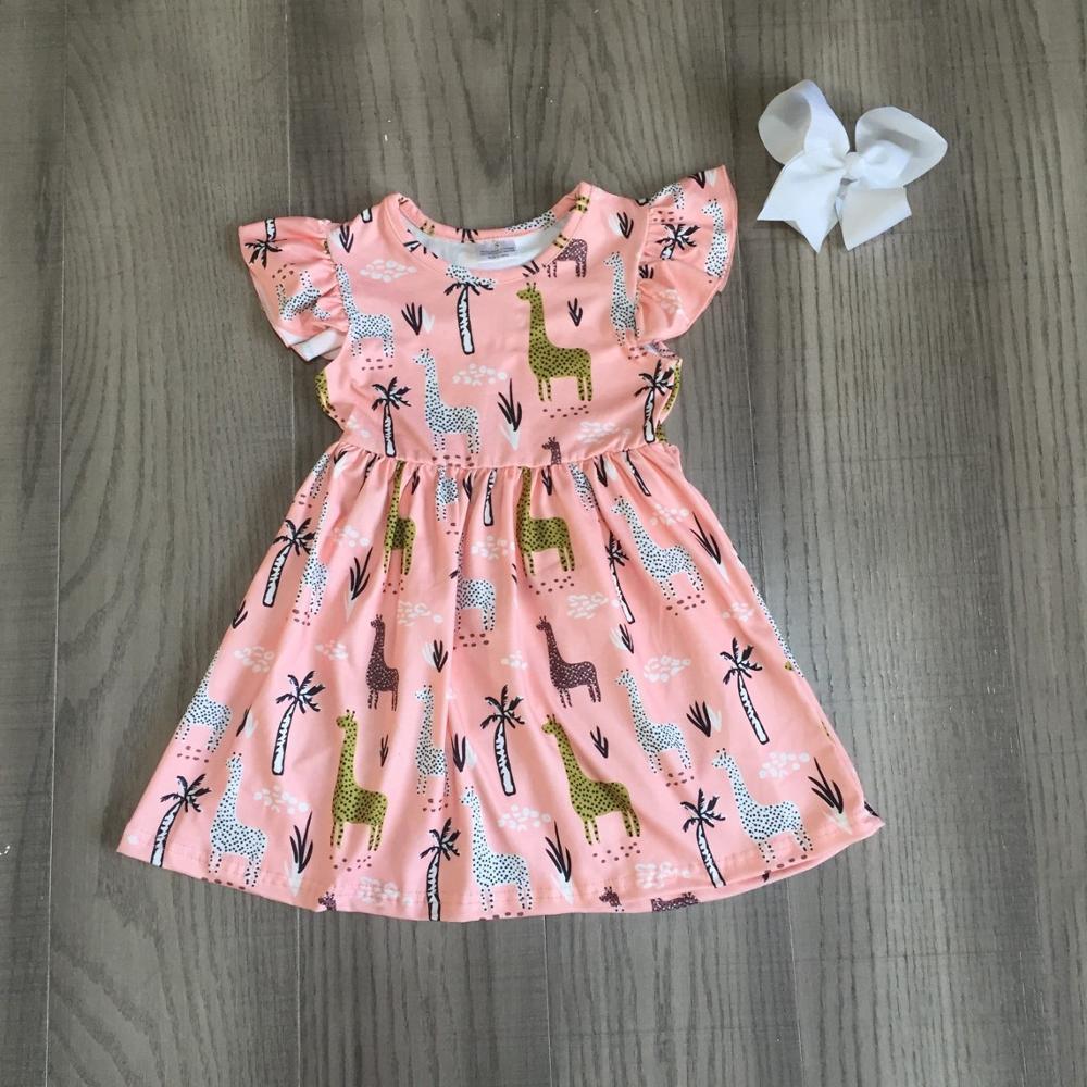 Exclusive summer baby girls children clothes boutique leopard flower farm dinosaur cotton milk silk knee length dress match bow 3