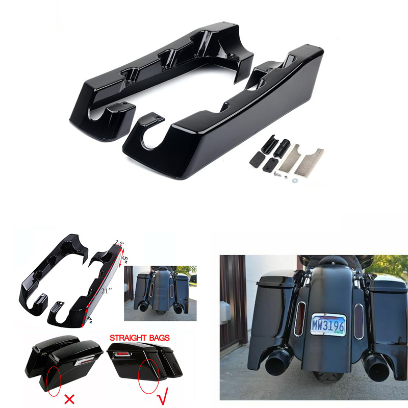 Motorcycle 4 quot Hard Stretched Saddle Bag Extensions Black For Harley Touring Electra Glide Road Glide King Sportster 1993 2013 in Covers amp Ornamental Mouldings from Automobiles amp Motorcycles