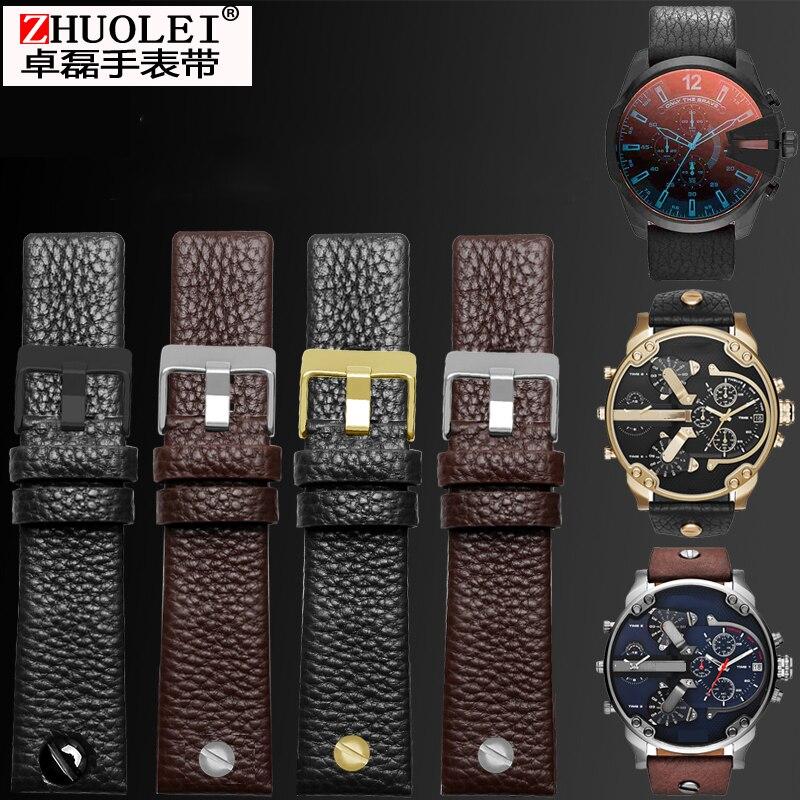 Universal Leather For Diesel Watch Strap Wrist Watch Belt For BraceletDZ7314 DZ7256 Watchband Straps 24 26 28 30mm With rivets