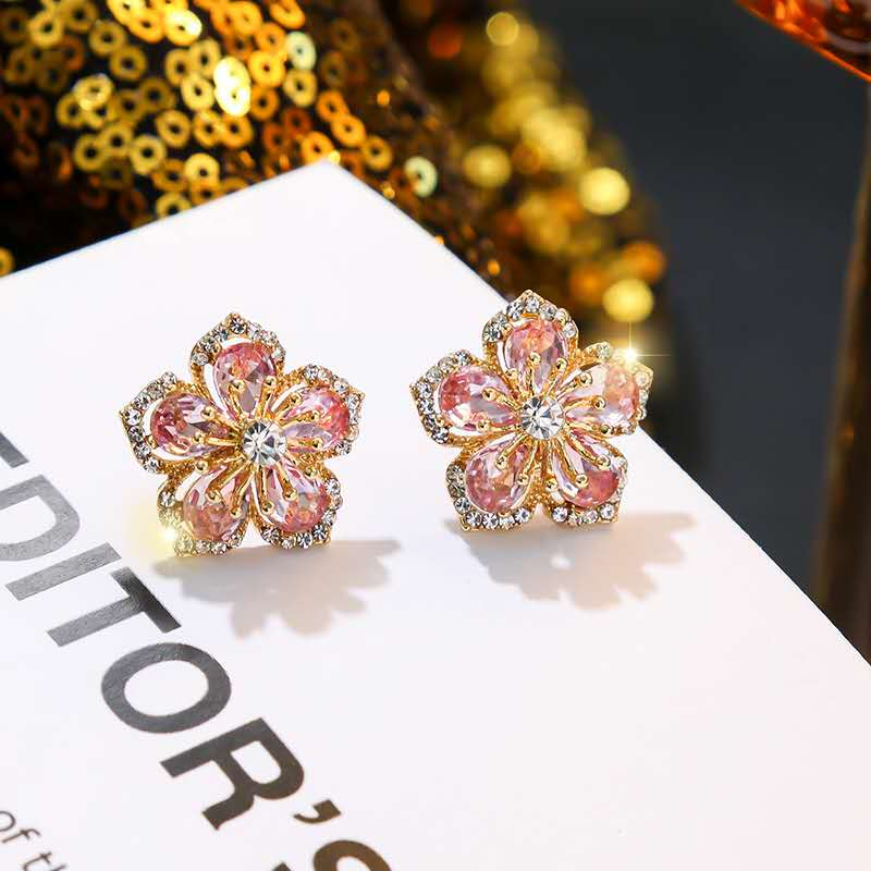 2020 <font><b>Trendy</b></font> <font><b>Cute</b></font> <font><b>Pink</b></font> <font><b>Flower</b></font> Stud <font><b>Earrings</b></font> <font><b>For</b></font> <font><b>Women</b></font> Girl Jewelry Female Rhinestone <font><b>Earrings</b></font> Jewelry CL2-045 image