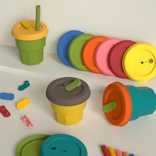 Cups Bottle Silicone Children's Dishes Baby Feeding Straw Seal Up Mug Silicone Drinking Tumbler Cups With Straw 300ml 400ml 2021