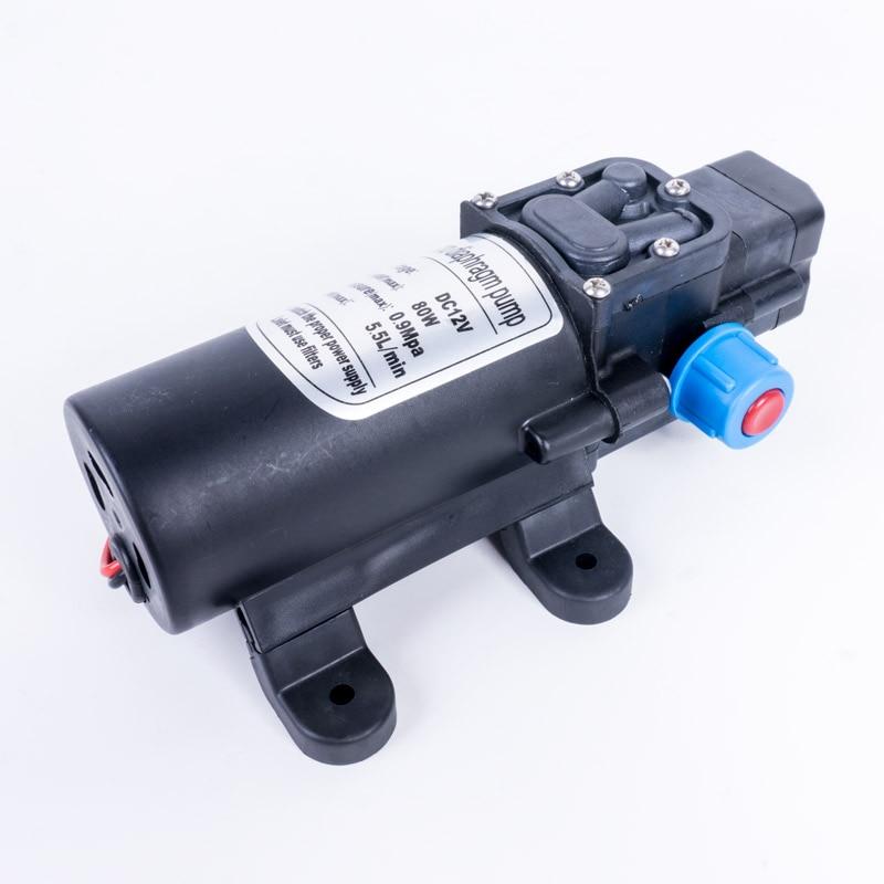 DC 12V 80W 5.5L/Min Agricultural Electric Water Pump Black Micro High Pressure Diaphragm Water Sprayer Car Washer 12 V 0.9Mpa