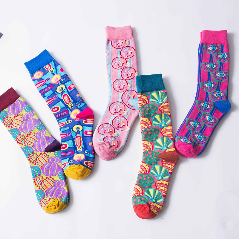 Fashion Streetwear Funny Socks Women Cartoon Ladies Long Socks Cotton For Autumn And Winter Colorful Meias 406