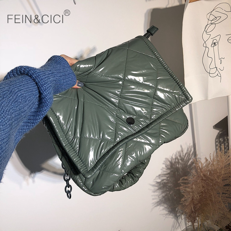 Women Puff Bag Winter Warm Casual Chains Flap Bag Female Down Feather Padded Messenger Bag 2019 Winter New Beige Black Green