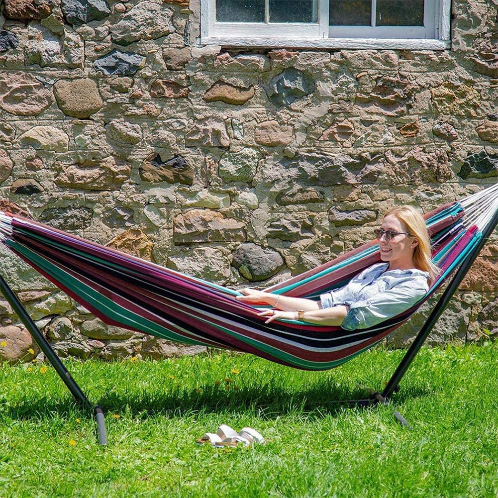 200x150cm Canvas Hammock Large Home Indoor Foldable Portable Garden Sleeping Stripe Swinging Hanging Without Stand For Bedroom