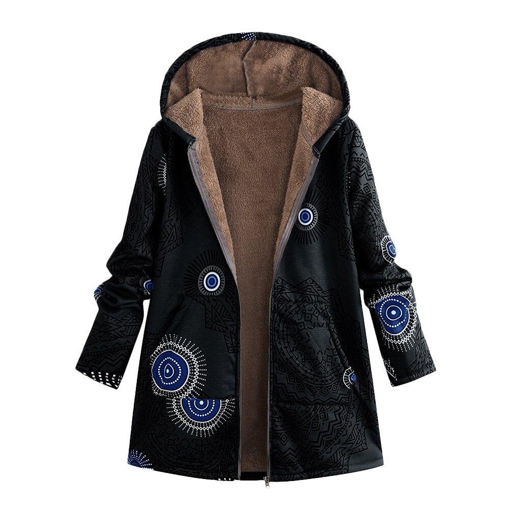 Casual Women Winter Warm Outwear Floral Print Hooded Pockets Vintage Oversize Coats Jacket Outerwear Parkas
