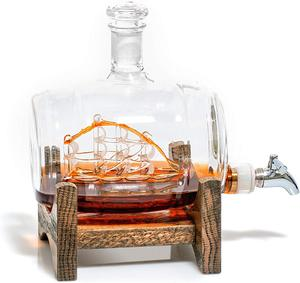 Image 1 - Креативный морской декантер в форме бочонка 1000 мл, стеклянная бутылка для виски, винный Декантер для бара, кухни, вечерние, рождественский подарок