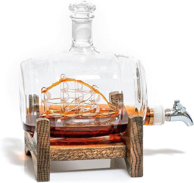 Креативный морской декантер в форме бочонка 1000 мл, стеклянная бутылка для виски, винный Декантер для бара, кухни, вечерние, рождественский подарок
