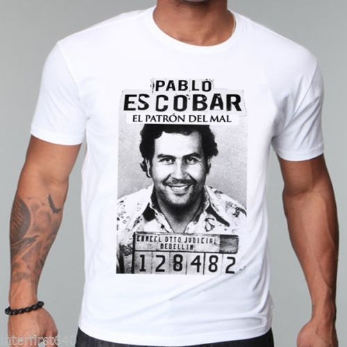 NARCOS gangster, Pablo escobar Shout Sleeve t shirt,  weed, mafia, scareface, Luciano, Capon Men T shirt Cotton Top Tees