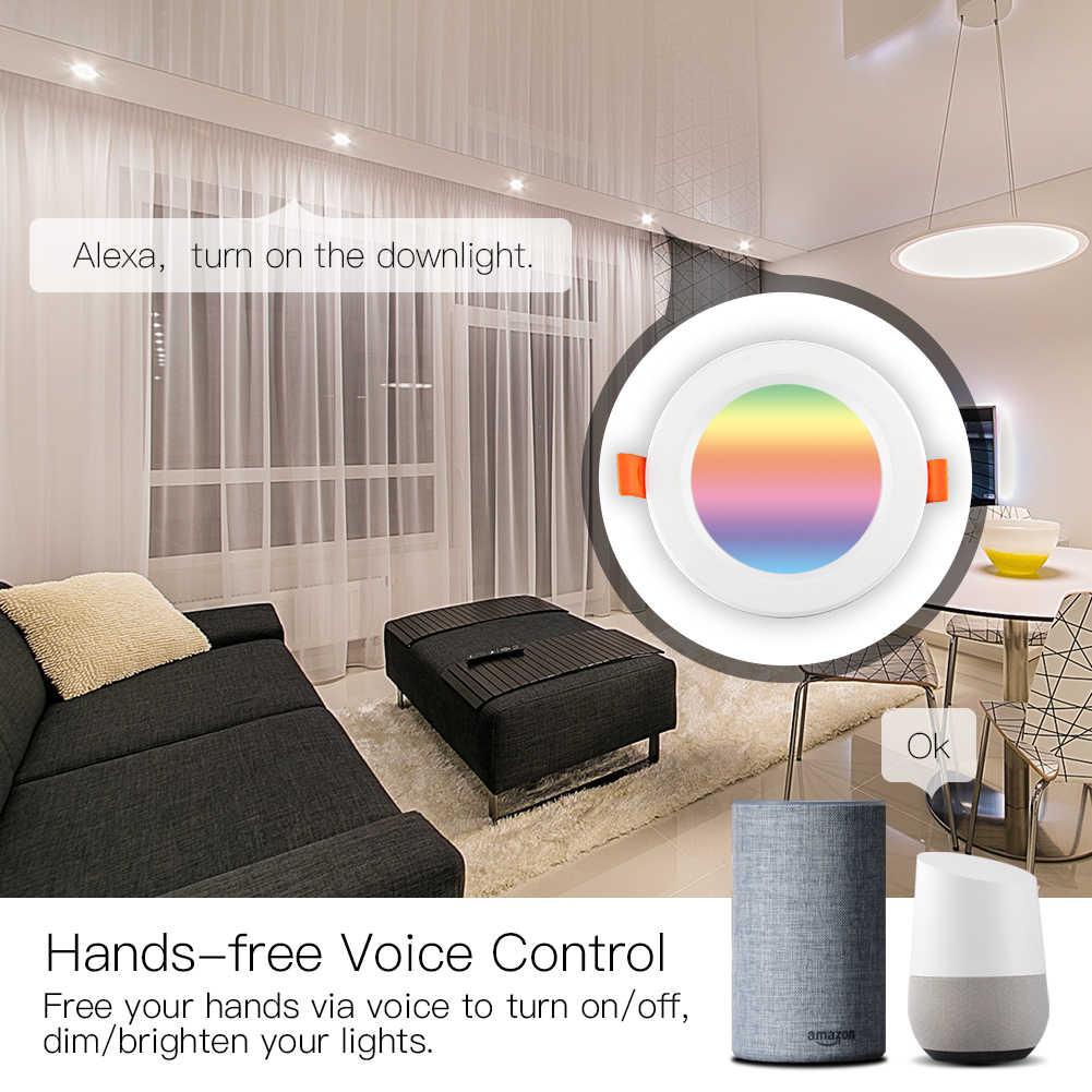 WiFi akıllı LED Downlight karartma yuvarlak Spot ışık 7W RGB renk değiştirme 2700K-6500K sıcak soğuk işık Alexa Google ev ile çalışmak