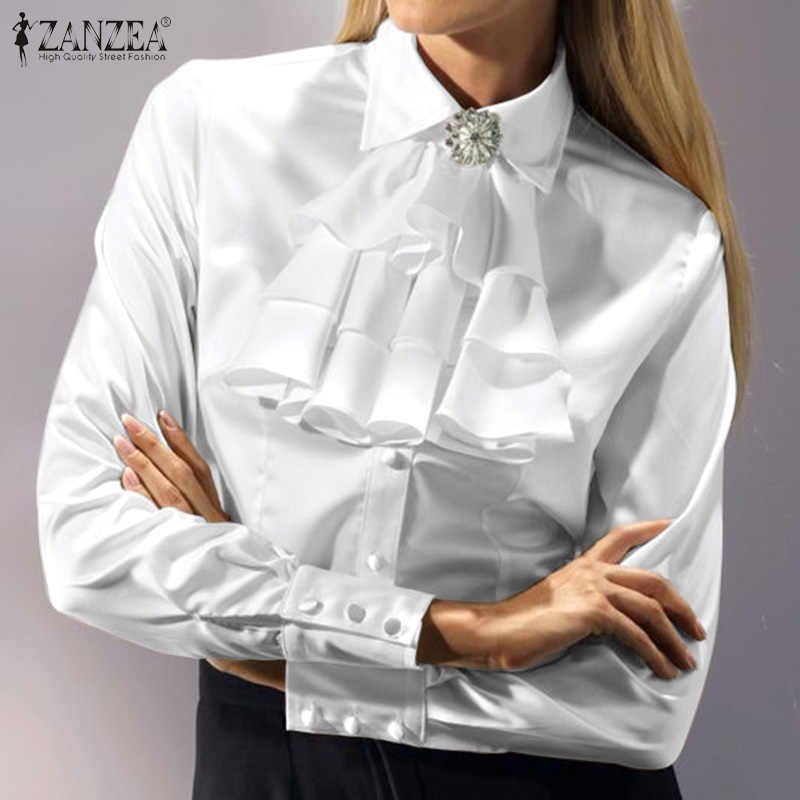 Stylish OL Shirts Women's Summer Blouse ZANZEA 2020 Casual Court Shirt Long Sleeve Tops Female Tie Bow Blusas Oversized Tunic