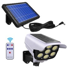 Solar Lighting Outdoor Led Spotlights with Sensor Security Dummy Camera Wireless Outdoor Flood Light IP65 Waterproof Solar Lamp