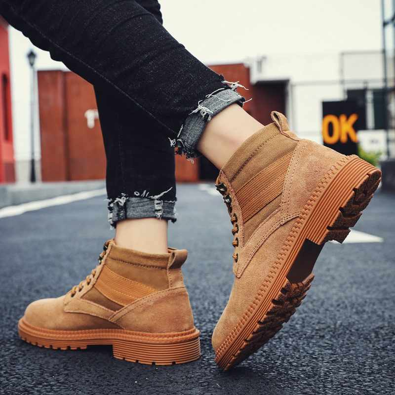 2019 Winter Schuhe Männer Military Stiefel Hohe Qualität Robuste Leinwand Stiefeletten Lace-Up Männer Turnschuhe Outdoor Arbeit Schuhe