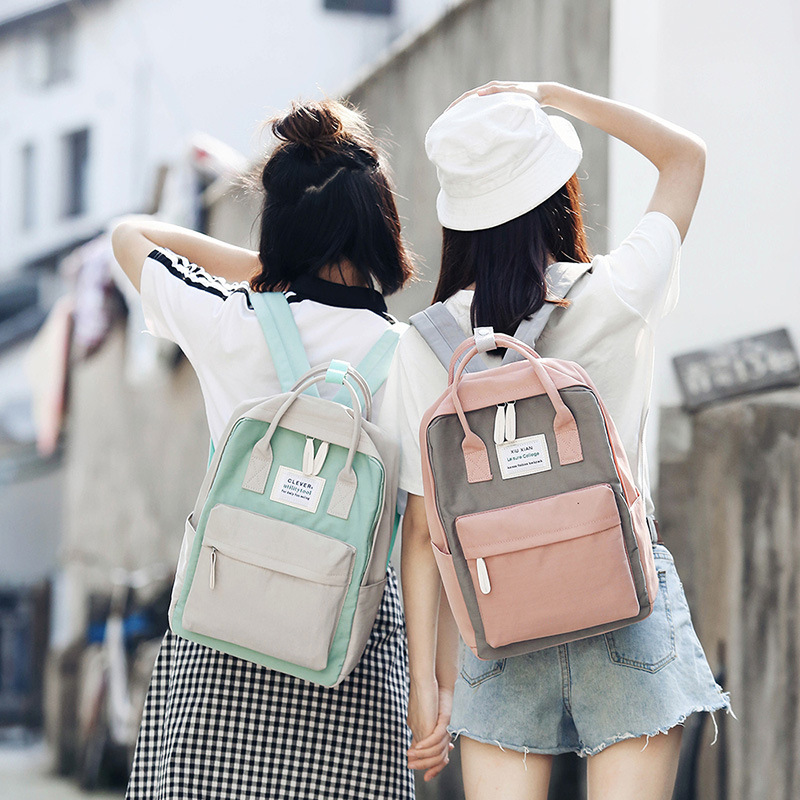 Korean canvas backpack large capacity laptop student bag outdoor travel waterproof backpack suitable for girls backpack Mochila image